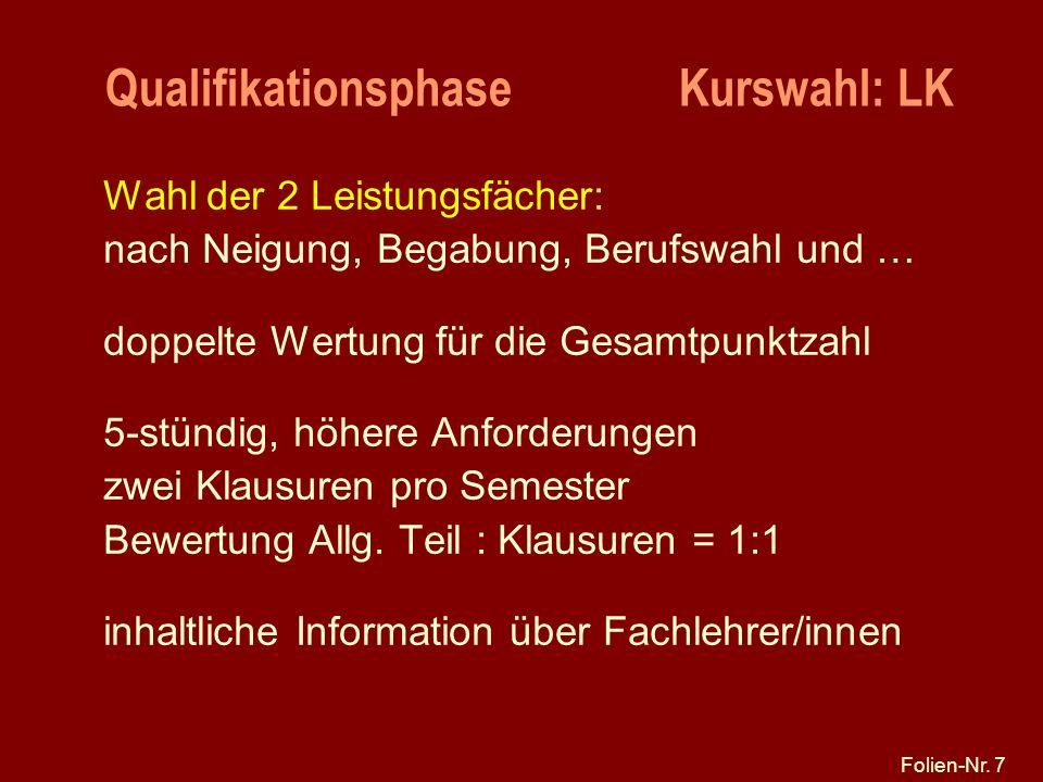 Folien-Nr. 7 Qualifikationsphase Kurswahl: LK Wahl der 2 Leistungsfächer: nach Neigung, Begabung, Berufswahl und … doppelte Wertung für die Gesamtpunk