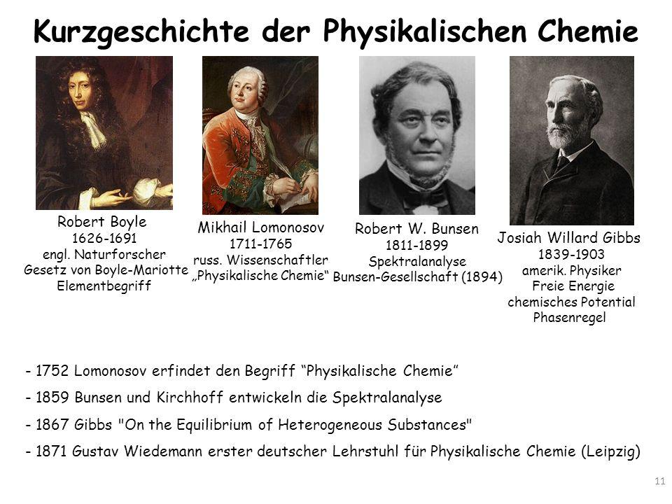 Kurzgeschichte der Physikalischen Chemie 11 - 1752 Lomonosov erfindet den Begriff Physikalische Chemie - 1859 Bunsen und Kirchhoff entwickeln die Spek