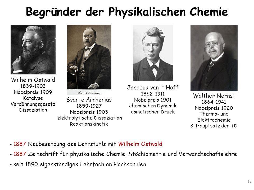 Begründer der Physikalischen Chemie 12 Wilhelm Ostwald 1839-1903 Nobelpreis 1909 Katalyse Verdünnungsgesetz Dissoziation Svante Arrhenius 1859-1927 No