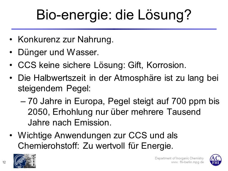 Department of Inorganic Chemistry www: fhi-berlin.mpg.de 12 Bio-energie: die Lösung.