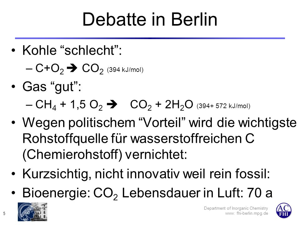 Department of Inorganic Chemistry www: fhi-berlin.mpg.de 6 A global energy scenario
