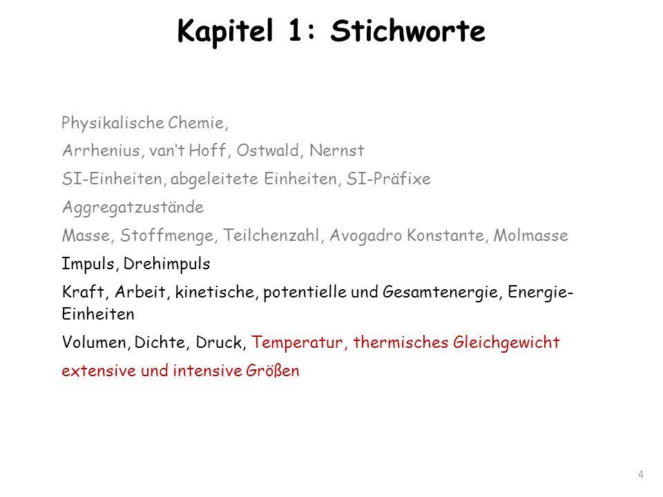 Kapitel 1: Stichworte 4 Physikalische Chemie, Arrhenius, vant Hoff, Ostwald, Nernst SI-Einheiten, abgeleitete Einheiten, SI-Präfixe Aggregatzustände M
