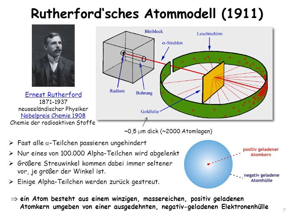 Rutherfordsches Atommodell (1911) 7 Ernest Rutherford 1871-1937 neuseeländischer Physiker Nobelpreis Chemie 1908 Chemie der radioaktiven Stoffe Fast a