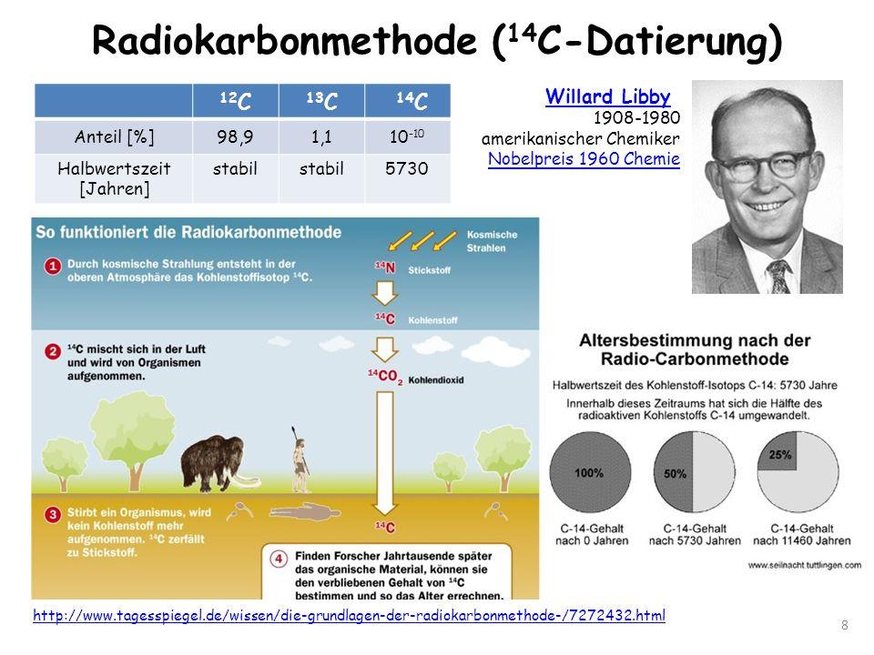Radiokarbonmethode ( 14 C-Datierung) 8 http://www.tagesspiegel.de/wissen/die-grundlagen-der-radiokarbonmethode-/7272432.html Willard Libby 1908-1980 a