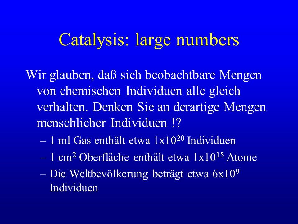 Catalysis: large numbers Wir glauben, daß sich beobachtbare Mengen von chemischen Individuen alle gleich verhalten. Denken Sie an derartige Mengen men