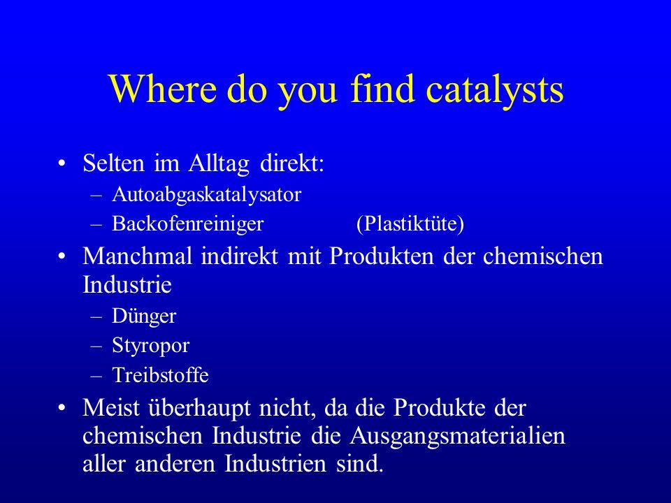 Where do you find catalysts Selten im Alltag direkt: –Autoabgaskatalysator –Backofenreiniger (Plastiktüte) Manchmal indirekt mit Produkten der chemisc