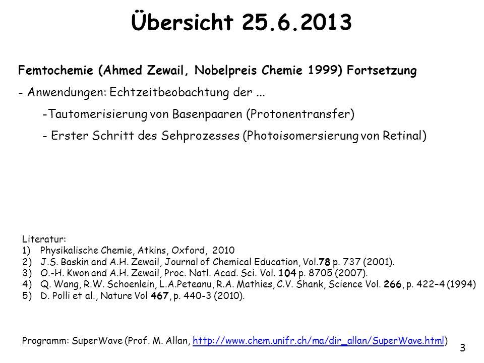 3 Übersicht 25.6.2013 Femtochemie (Ahmed Zewail, Nobelpreis Chemie 1999) Fortsetzung - Anwendungen: Echtzeitbeobachtung der... -Tautomerisierung von B
