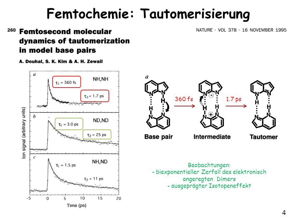 4 Femtochemie: Tautomerisierung 360 fs1.7 ps Beobachtungen: - biexponentieller Zerfall des elektronisch angeregten Dimers - ausgeprägter Isotopeneffek