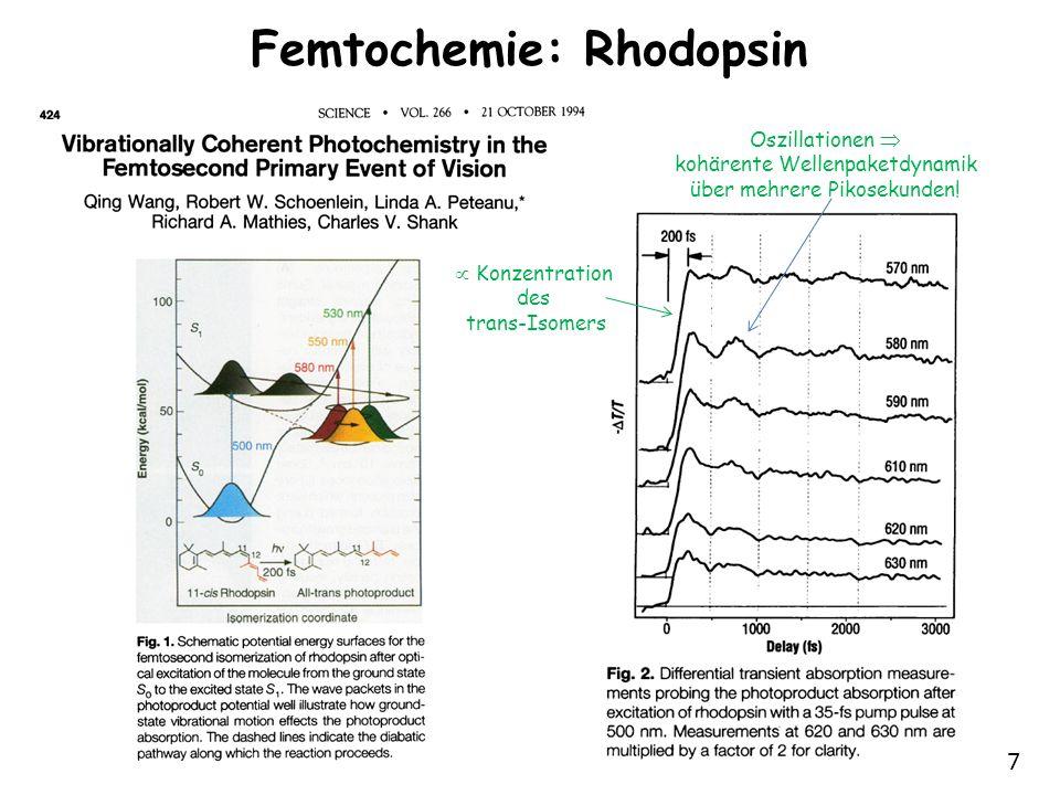 7 Femtochemie: Rhodopsin Konzentration des trans-Isomers Oszillationen kohärente Wellenpaketdynamik über mehrere Pikosekunden!