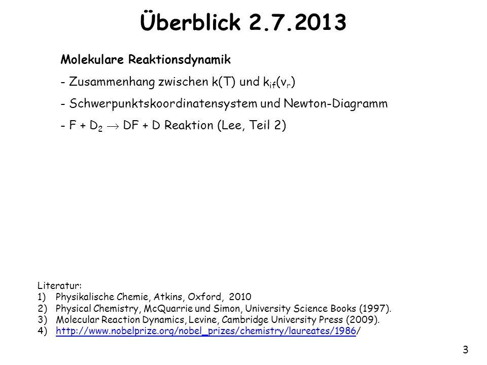 3 Überblick 2.7.2013 Molekulare Reaktionsdynamik - Zusammenhang zwischen k(T) und k if (v r ) - Schwerpunktskoordinatensystem und Newton-Diagramm - F