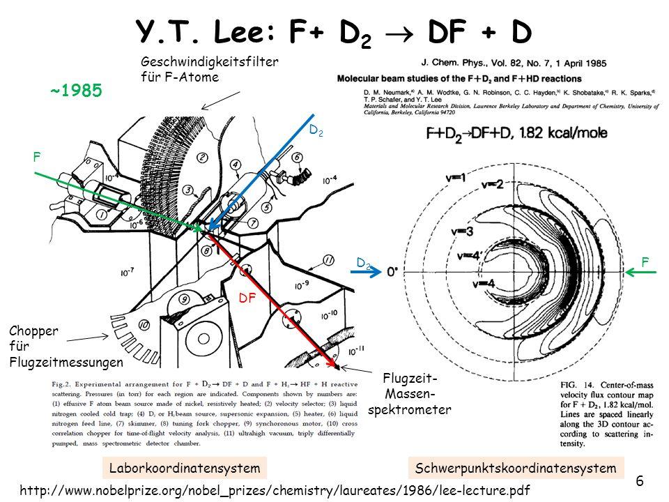7 PES: F+ D 2 DF + D F+D 2 DF+D [F ··· D ··· D] früher Übergangszustand E trans der Edukte erhöht Reaktions- rate und wird dann in E vib der Produkte umgewandelt
