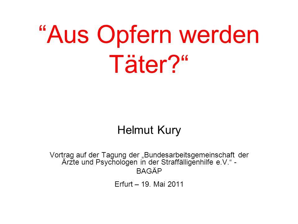Heute Opfer – Morgen Täter? Vielen Dank für Ihre Aufmerksamkeit helmut.kury@web.de