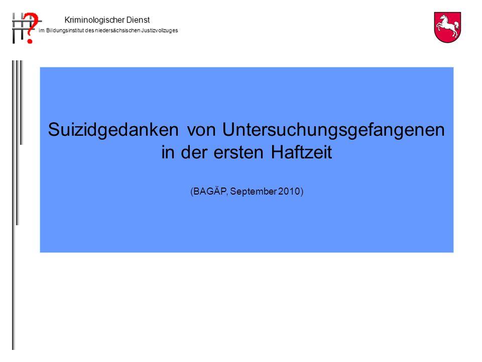 Kriminologischer Dienst im Bildungsinstitut des niedersächsischen Justizvollzuges Nicht suizidgefährdet, keine Behandlung erforderlich Depressives Syndrom, jedoch nicht suizidal Akute Suizidalität, Alkoholabhängigkeit, Hirnorganisches Psychosyndrom Diagnosen