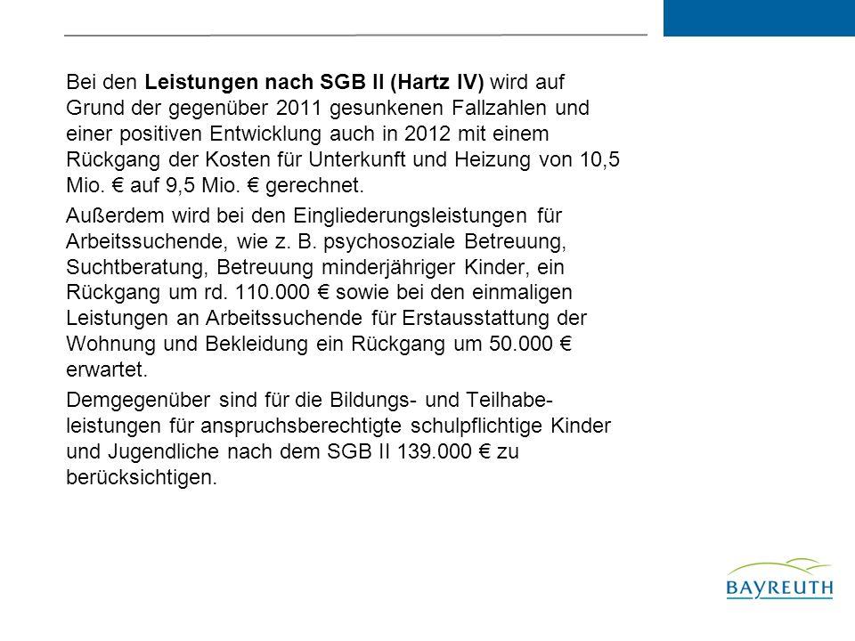 Bei den Leistungen nach SGB II (Hartz IV) wird auf Grund der gegenüber 2011 gesunkenen Fallzahlen und einer positiven Entwicklung auch in 2012 mit einem Rückgang der Kosten für Unterkunft und Heizung von 10,5 Mio.