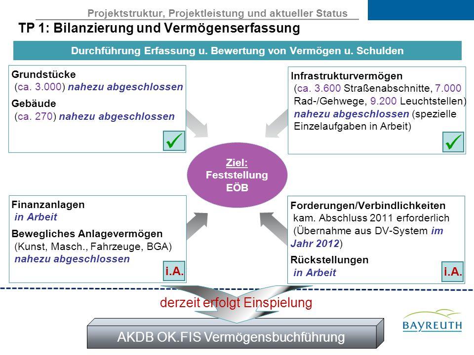 Projektstruktur, Projektleistung und aktueller Status TP 1: Bilanzierung und Vermögenserfassung Ziel: Feststellung EÖB Grundstücke (ca.