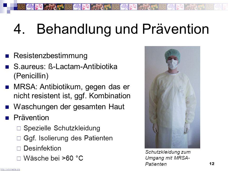 13 5.Zukünftige Entwicklung Zunahme der Antibiotikaresistenz um 5,42% in den letzten 14 Jahren first line-Antibiotika Oxacillin1990: 1,7% 2004: 22,6% Skandinavische Länder Konsequentes Hygienemanagement Anteil von MRSA an S.aureus <1% 1940-19501951-19601961-19701971-1980nach 1990 Neomycin Cephalosporin Tetracycline Framycetin Polymyxin Chloramphenicol Bacitracin Streptomycin Penicillin Sulphonamide Fusidic acid Kanamycin Rifampicin Vancomycin Cycloserine Novobiocin Spriamycin Erythromycin Nalidixic acid Tobramycin Gentamycin Lincomycin Spectinomycin Imipenem Ciprofloxacin Aztreonam Clindamycin Trimethoprim Beta-lactams Quinolones Macrolides Antibiotika-Neuentdeckungen Krankenhauspersonal mit Mundschutz http://www.uni-ulm.dehttp://www.quarks.de