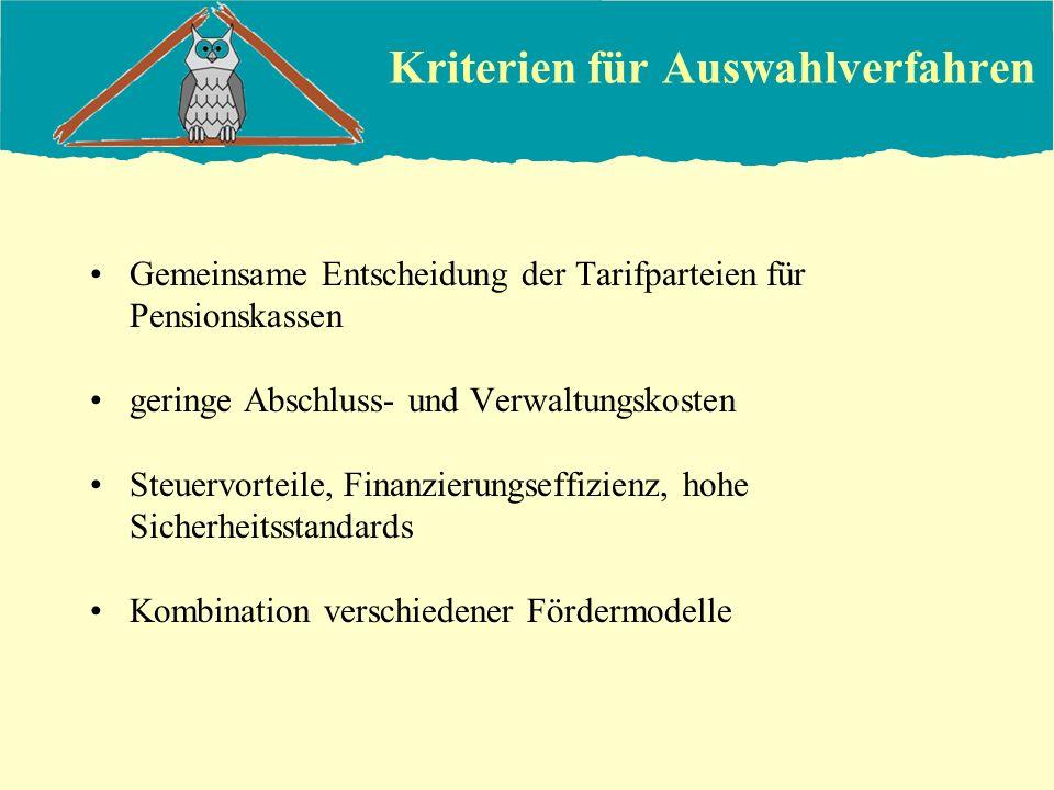 Kriterien für Auswahlverfahren Gemeinsame Entscheidung der Tarifparteien für Pensionskassen geringe Abschluss- und Verwaltungskosten Steuervorteile, F