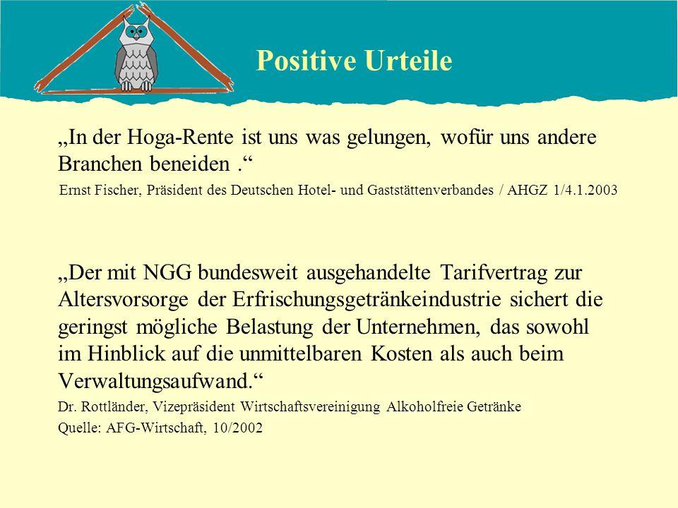 Positive Urteile In der Hoga-Rente ist uns was gelungen, wofür uns andere Branchen beneiden. Ernst Fischer, Präsident des Deutschen Hotel- und Gaststä