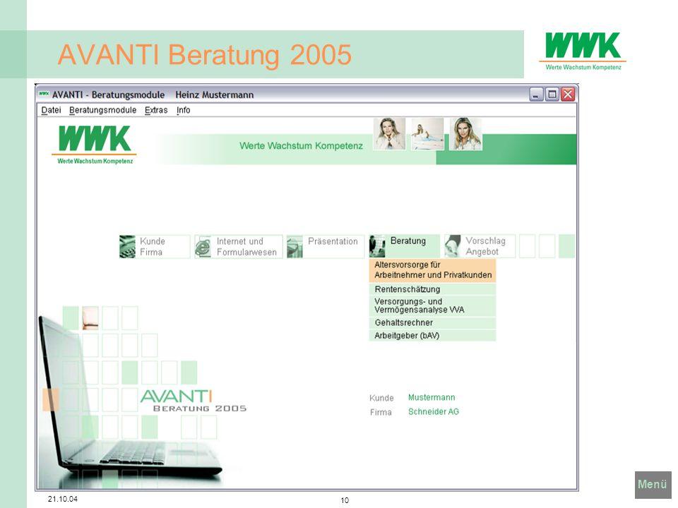 Menü 21.10.04 10 AVANTI Beratung 2005