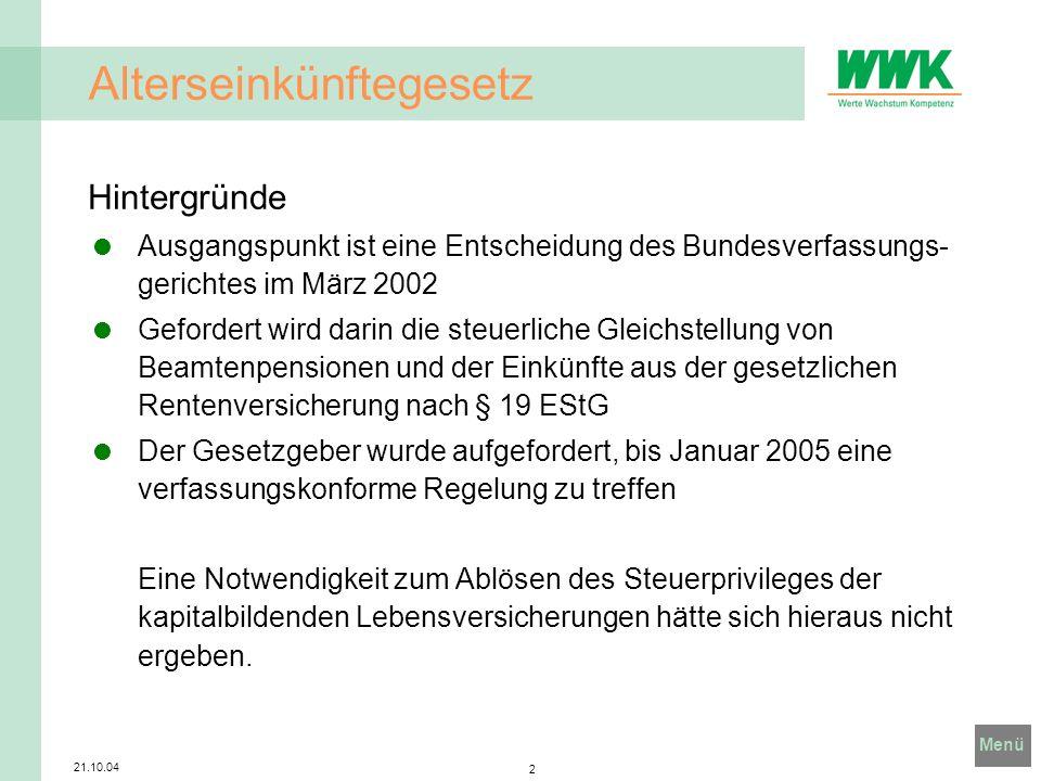 Menü 21.10.04 3 Alterseinkünftegesetz Entwicklung des Gesetzes Um das Urteil des Verfassungsgerichtes umzusetzen wurde unter Leitung des Darmstädter Professors Bert Rürup die so genannte Rürup Kommission eingesetzt.