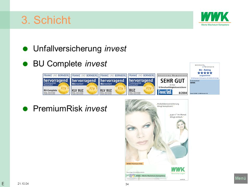 Menü 21.10.04 34 3. Schicht Unfallversicherung invest BU Complete invest PremiumRisk invest E
