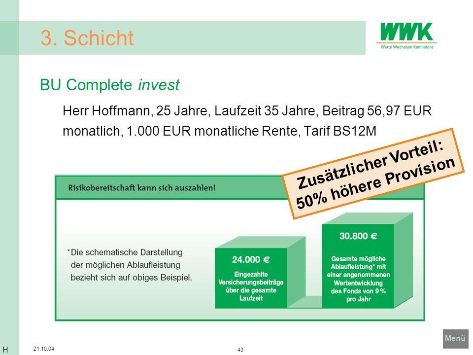 Menü 21.10.04 43 3. Schicht BU Complete invest Herr Hoffmann, 25 Jahre, Laufzeit 35 Jahre, Beitrag 56,97 EUR monatlich, 1.000 EUR monatliche Rente, Ta