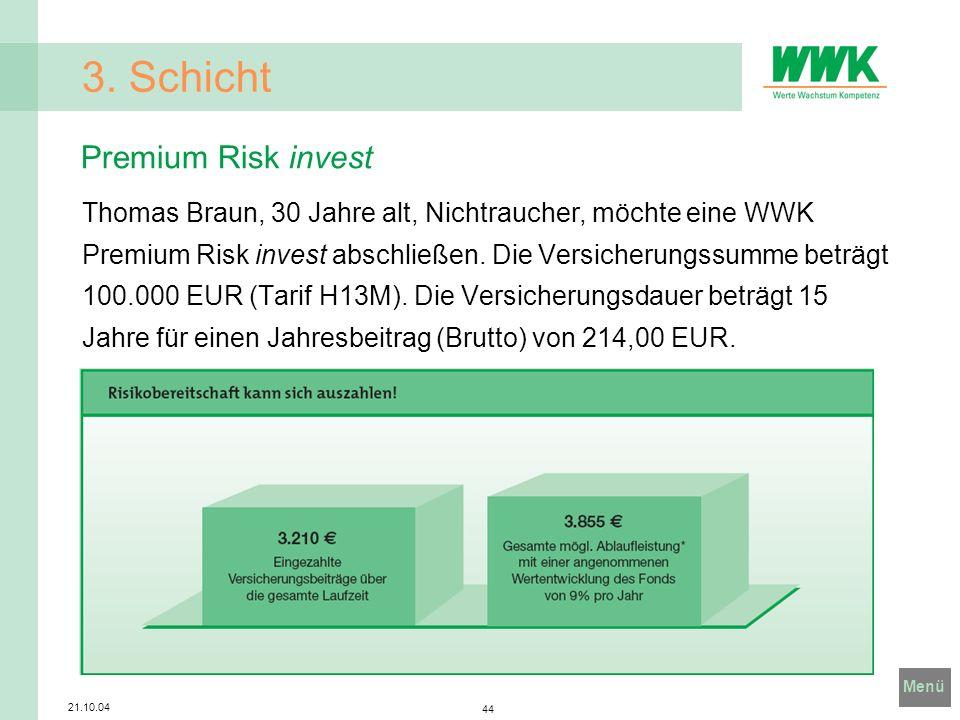 Menü 21.10.04 44 3. Schicht Thomas Braun, 30 Jahre alt, Nichtraucher, möchte eine WWK Premium Risk invest abschließen. Die Versicherungssumme beträgt
