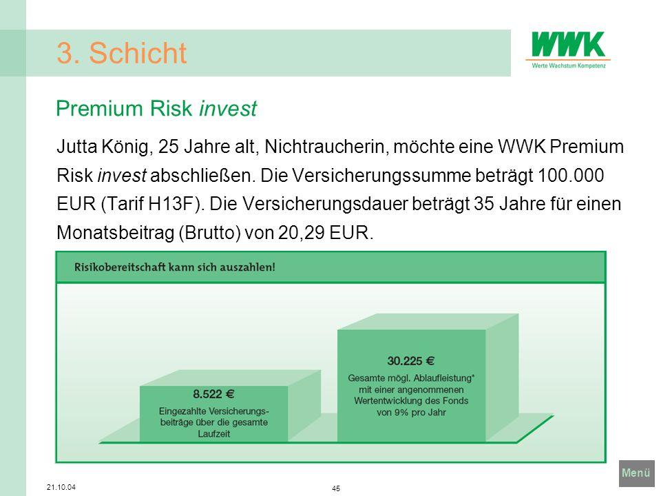 Menü 21.10.04 45 3. Schicht Jutta König, 25 Jahre alt, Nichtraucherin, möchte eine WWK Premium Risk invest abschließen. Die Versicherungssumme beträgt