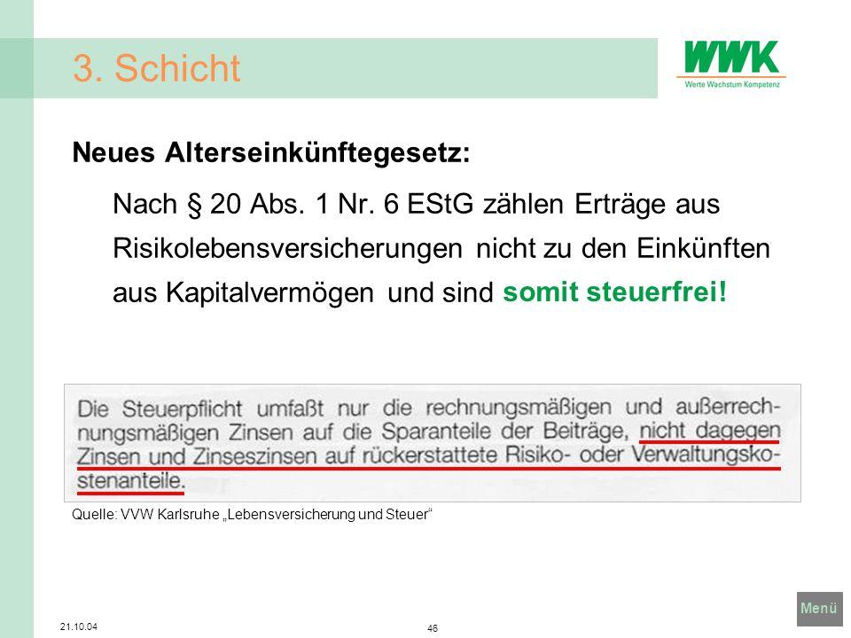 Menü 21.10.04 46 Quelle: VVW Karlsruhe Lebensversicherung und Steuer 3. Schicht Neues Alterseinkünftegesetz: Nach § 20 Abs. 1 Nr. 6 EStG zählen Erträg