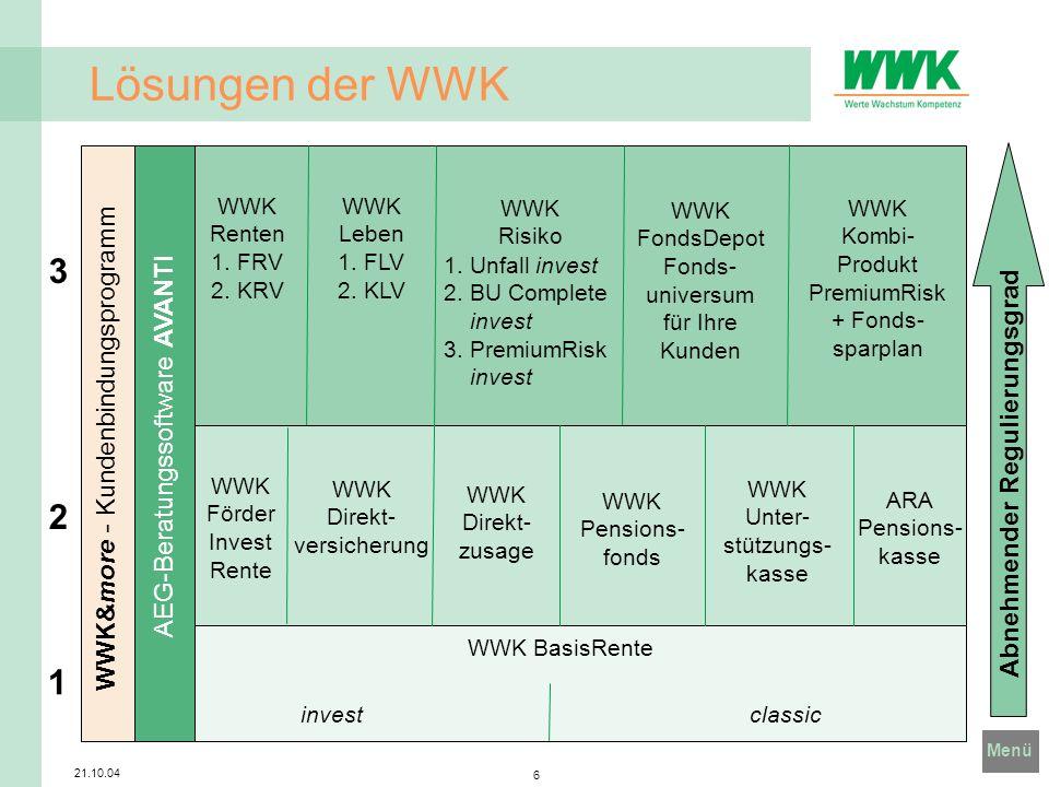 Menü 21.10.04 6 Lösungen der WWK 1 2 3 WWK BasisRente investclassic WWK Renten 1. FRV 2. KRV WWK Leben 1. FLV 2. KLV WWK Risiko WWK FondsDepot Fonds-