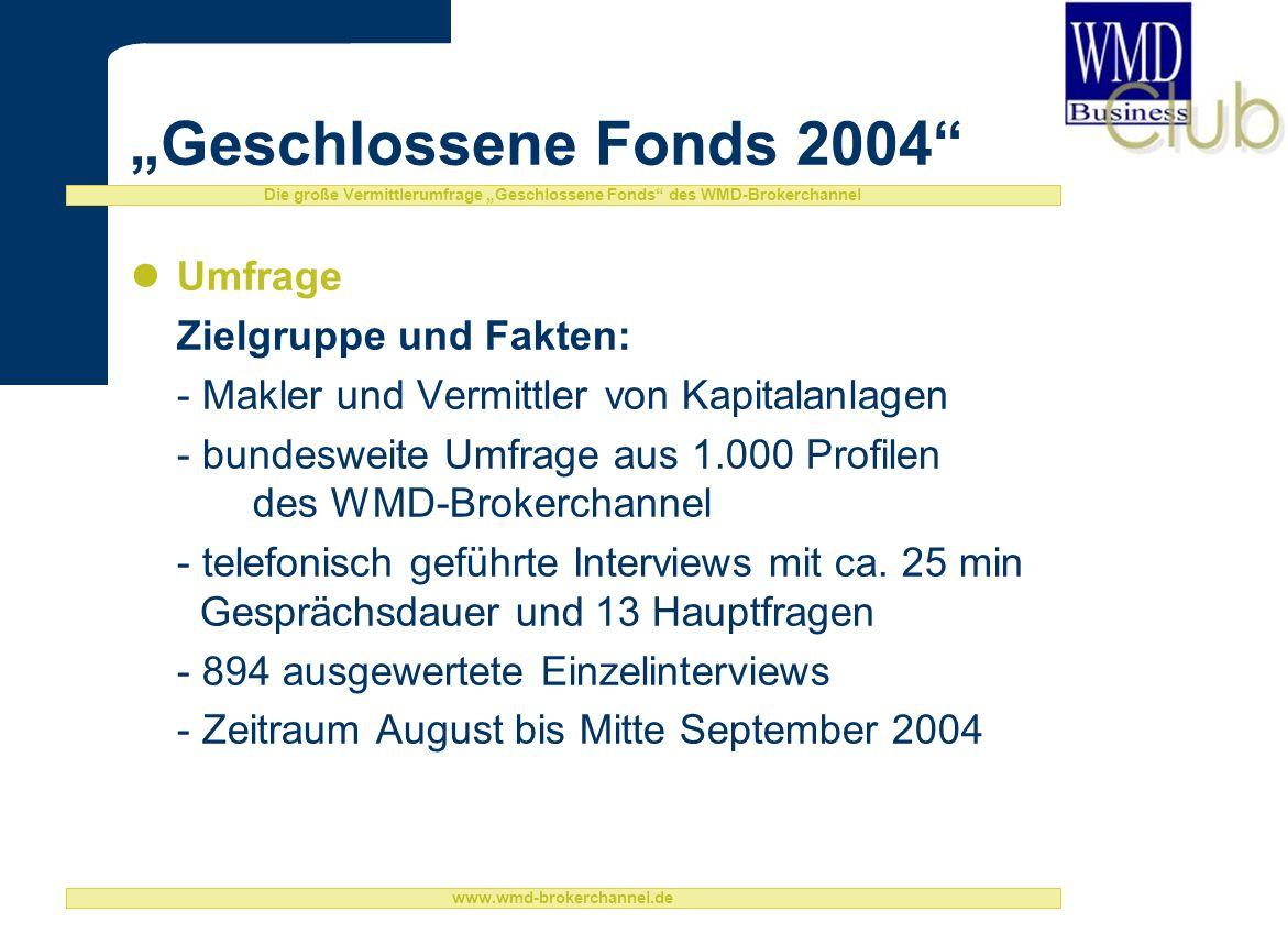Die große Vermittlerumfrage Geschlossene Fonds des WMD-Brokerchannel www.wmd-brokerchannel.de Geschlossene Fonds 2004 Umfrage Zielgruppe und Fakten: - Makler und Vermittler von Kapitalanlagen - bundesweite Umfrage aus 1.000 Profilen des WMD-Brokerchannel - telefonisch geführte Interviews mit ca.