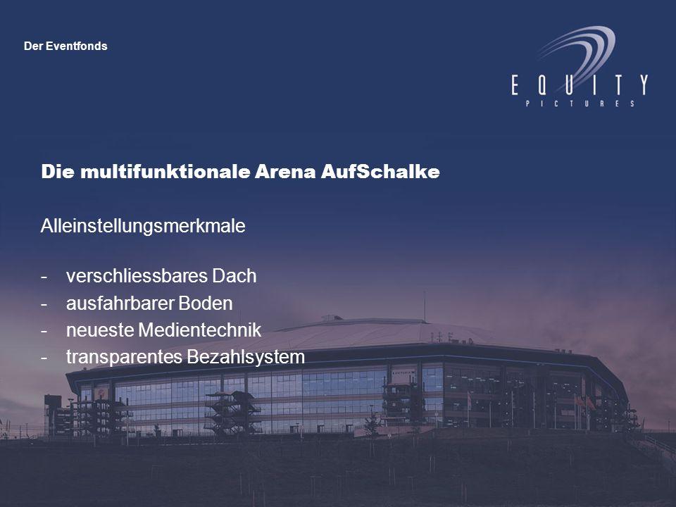Die multifunktionale Arena AufSchalke Alleinstellungsmerkmale -verschliessbares Dach -ausfahrbarer Boden -neueste Medientechnik -transparentes Bezahlsystem Der Eventfonds