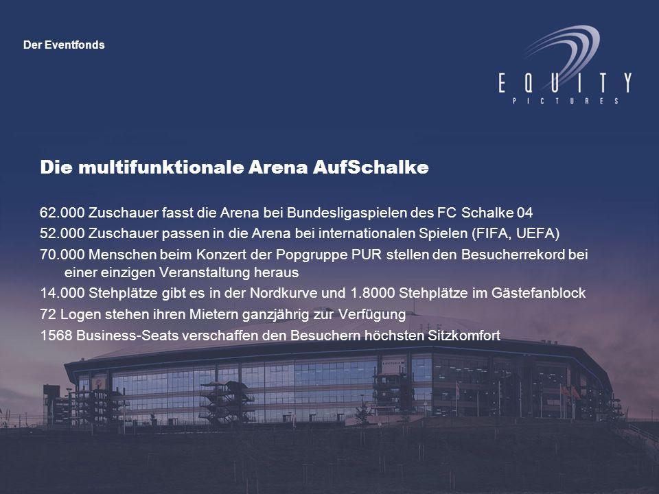 Die multifunktionale Arena AufSchalke 62.000 Zuschauer fasst die Arena bei Bundesligaspielen des FC Schalke 04 52.000 Zuschauer passen in die Arena bei internationalen Spielen (FIFA, UEFA) 70.000 Menschen beim Konzert der Popgruppe PUR stellen den Besucherrekord bei einer einzigen Veranstaltung heraus 14.000 Stehplätze gibt es in der Nordkurve und 1.8000 Stehplätze im Gästefanblock 72 Logen stehen ihren Mietern ganzjährig zur Verfügung 1568 Business-Seats verschaffen den Besuchern höchsten Sitzkomfort Der Eventfonds