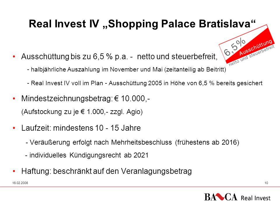 16.02.200610 Real Invest IV Shopping Palace Bratislava Ausschüttung bis zu 6,5 % p.a. - netto und steuerbefreit, - halbjährliche Auszahlung im Novembe