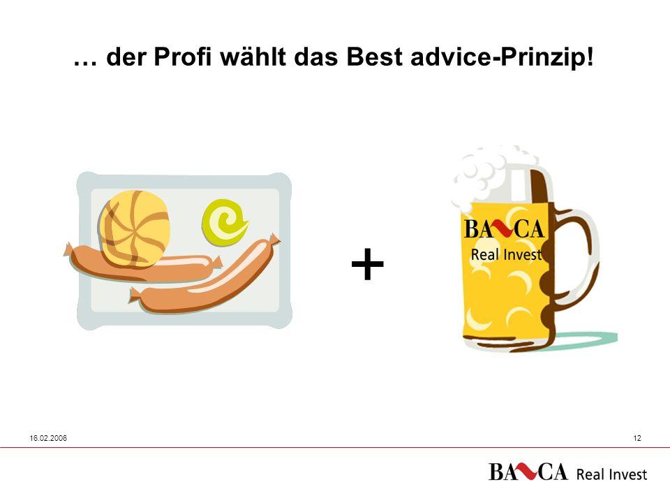 16.02.200612 … der Profi wählt das Best advice-Prinzip! +