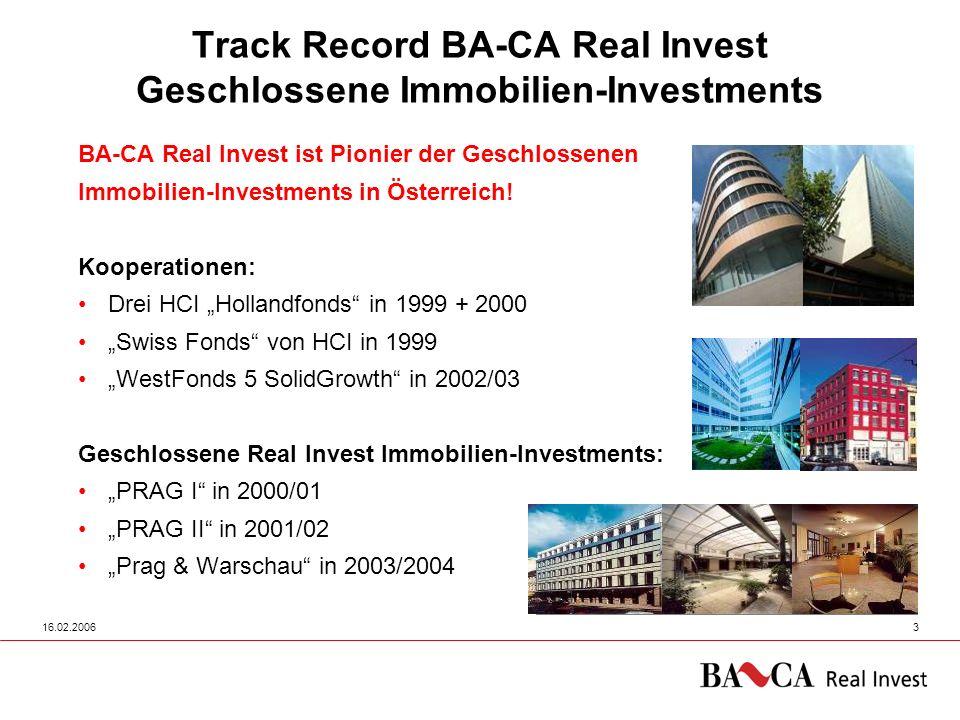 16.02.20063 Track Record BA-CA Real Invest Geschlossene Immobilien-Investments BA-CA Real Invest ist Pionier der Geschlossenen Immobilien-Investments