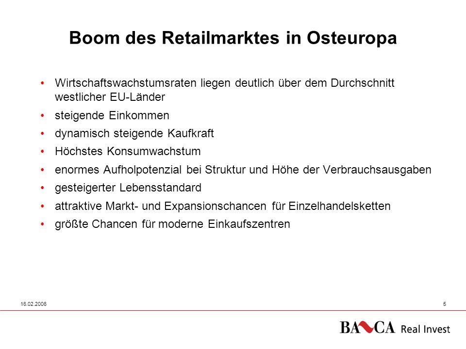 16.02.20065 Wirtschaftswachstumsraten liegen deutlich über dem Durchschnitt westlicher EU-Länder steigende Einkommen dynamisch steigende Kaufkraft Höc