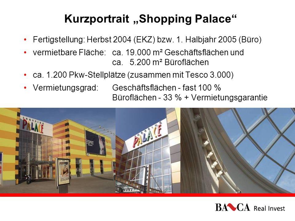 16.02.20066 Kurzportrait Shopping Palace Fertigstellung: Herbst 2004 (EKZ) bzw. 1. Halbjahr 2005 (Büro) vermietbare Fläche: ca. 19.000 m² Geschäftsflä