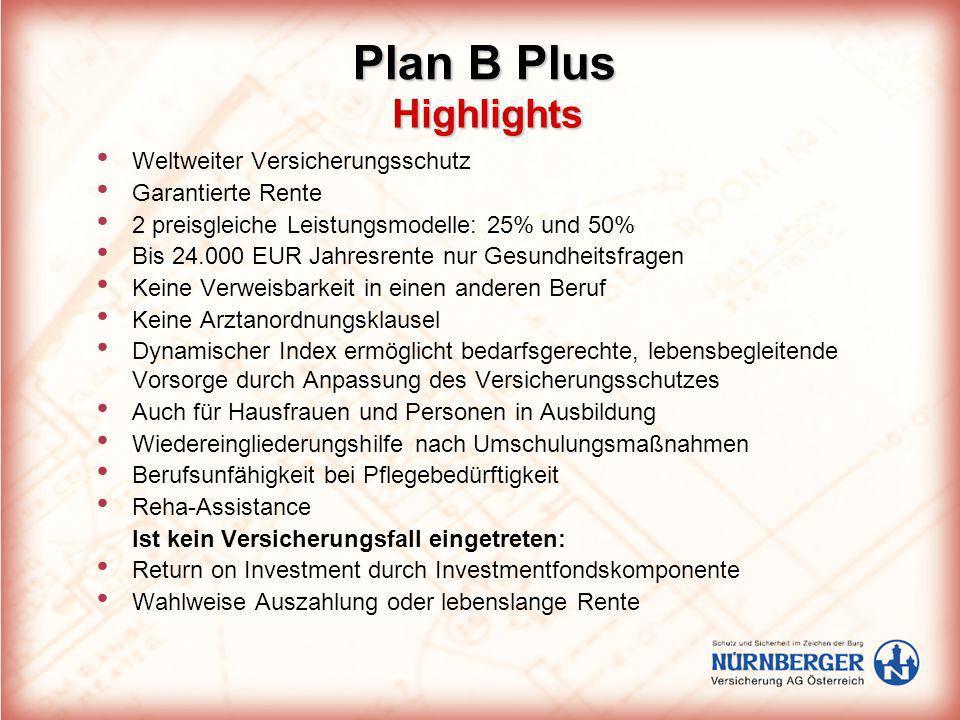 Highlights Highlights Weltweiter Versicherungsschutz Garantierte Rente 2 preisgleiche Leistungsmodelle: 25% und 50% Bis 24.000 EUR Jahresrente nur Ges