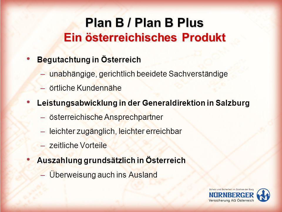 Plan B / Plan B Plus Ein österreichisches Produkt Begutachtung in Österreich –unabhängige, gerichtlich beeidete Sachverständige –örtliche Kundennähe L