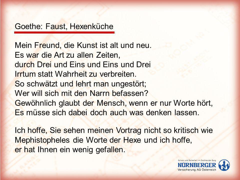 Goethe: Faust, Hexenküche Mein Freund, die Kunst ist alt und neu. Es war die Art zu allen Zeiten, durch Drei und Eins und Eins und Drei Irrtum statt W
