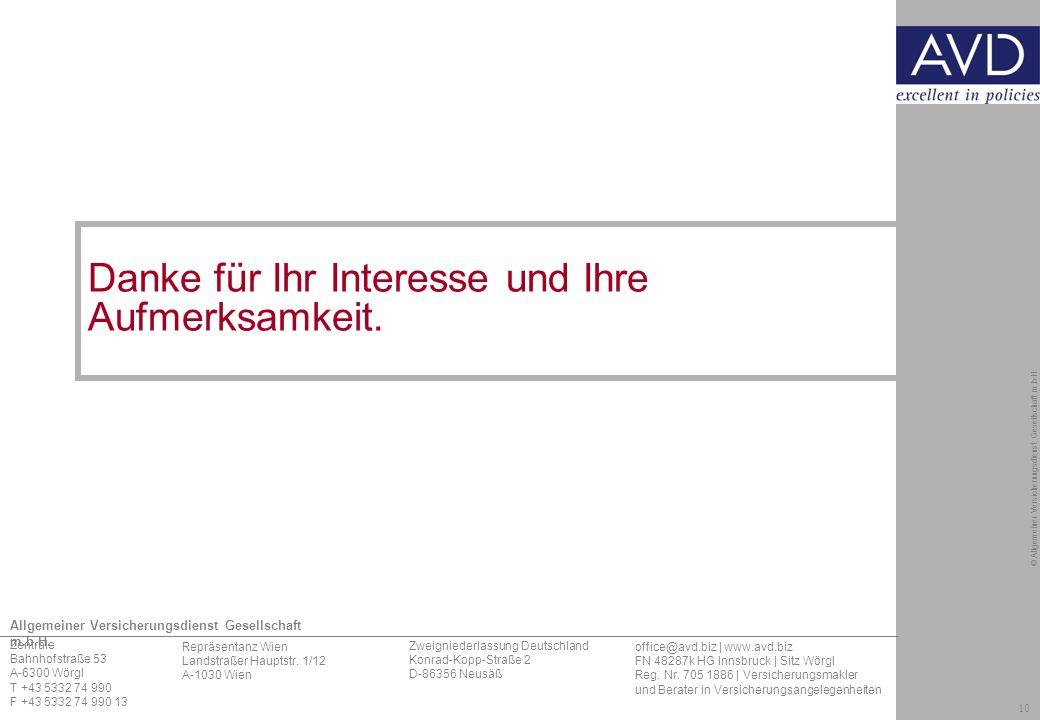 10 © Allgemeiner Versicherungsdienst Gesellschaft m.b.H.