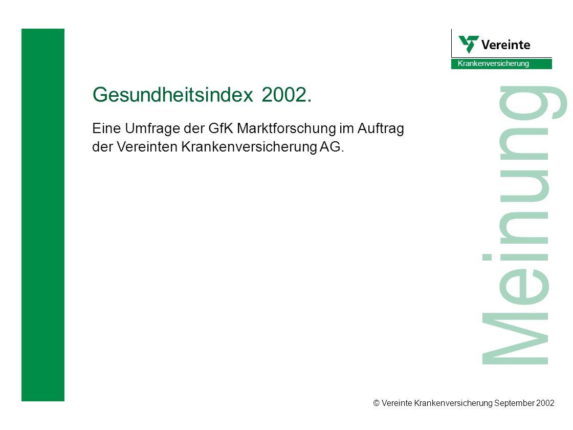 © Vereinte Krankenversicherung September 2002 Krankenversicherung Meinung Gesundheitsindex 2002. Eine Umfrage der GfK Marktforschung im Auftrag der Ve