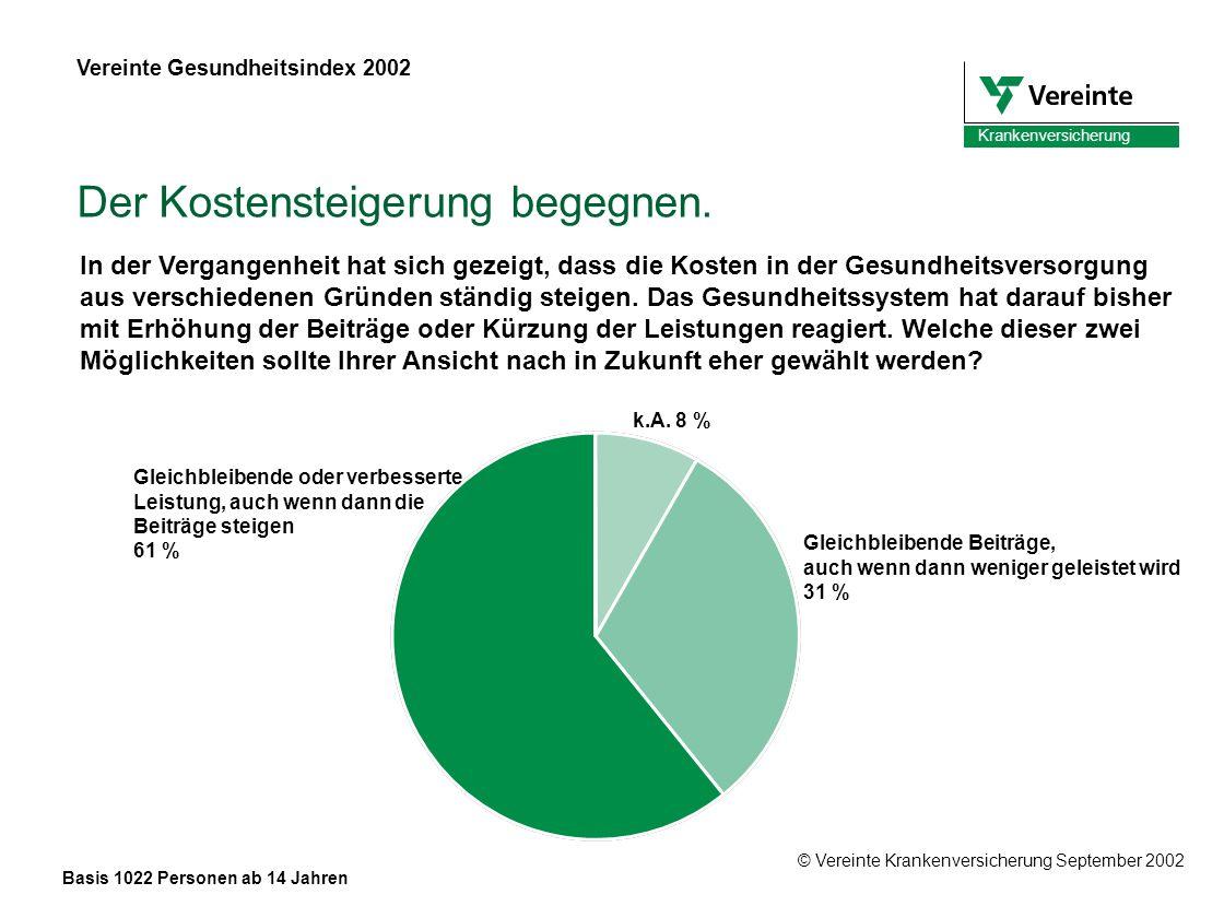 © Vereinte Krankenversicherung September 2002 Krankenversicherung Der Kostensteigerung begegnen.