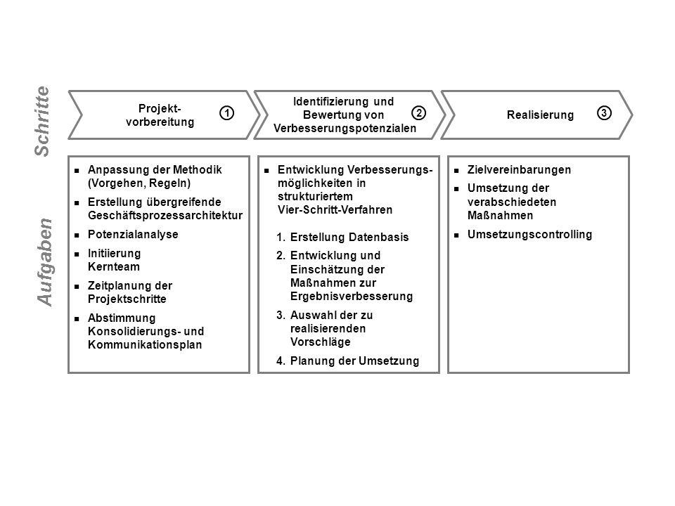 Anpassung der Methodik (Vorgehen, Regeln) Erstellung übergreifende Geschäftsprozessarchitektur Potenzialanalyse Initiierung Kernteam Zeitplanung der P