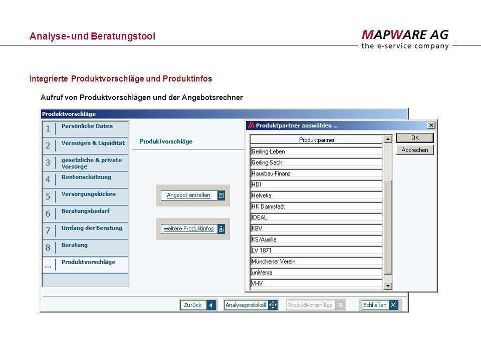 Analyse- und Beratungstool Aufruf von Produktvorschlägen und der Angebotsrechner Integrierte Produktvorschläge und Produktinfos
