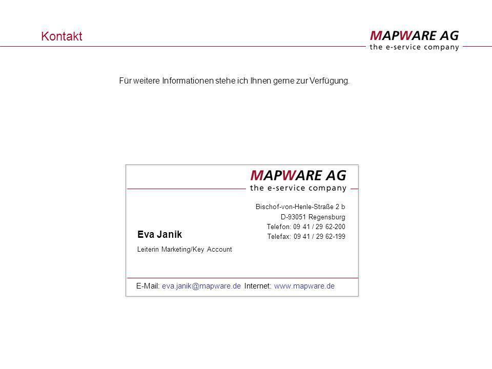 Kontakt Bischof-von-Henle-Straße 2 b D-93051 Regensburg Telefon: 09 41 / 29 62-200 Telefax: 09 41 / 29 62-199 Eva Janik Leiterin Marketing/Key Account