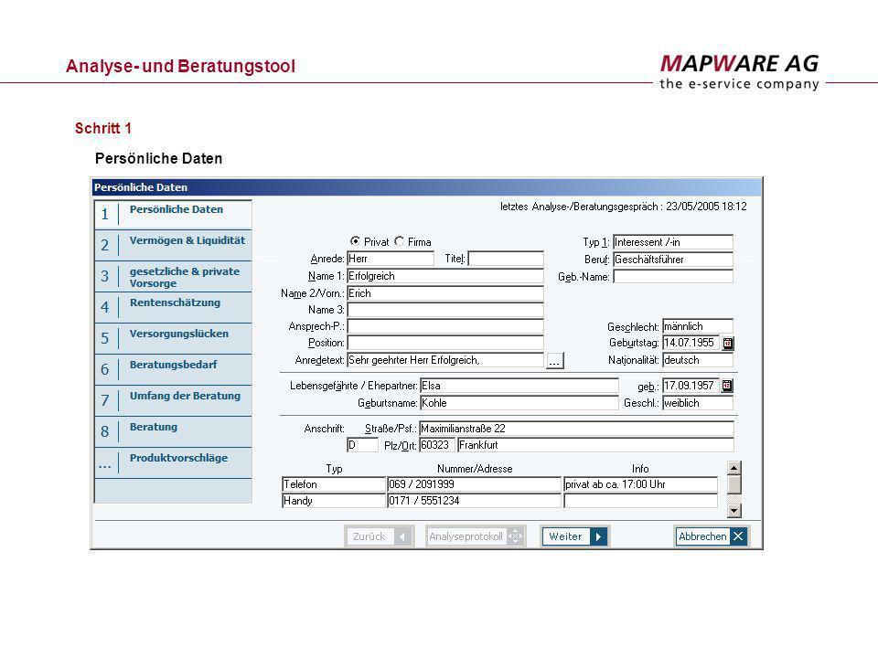 Analyse- und Beratungstool Persönliche Daten Schritt 1