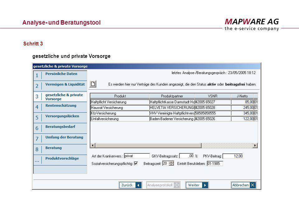 Analyse- und Beratungstool Schritt 3 gesetzliche und private Vorsorge