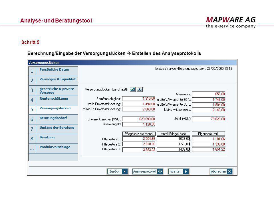 Analyse- und Beratungstool Schritt 5 Berechnung/Eingabe der Versorgungslücken Erstellen des Analyseprotokolls